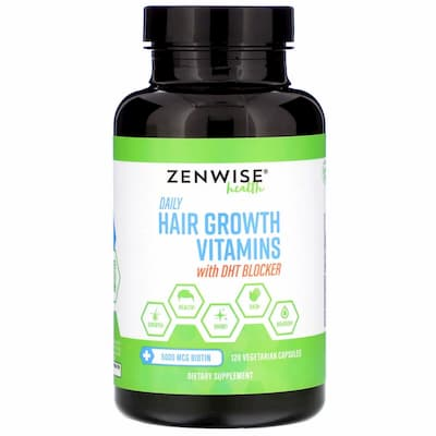 Zenwise Health, فيتامينات يومية لنمو الشعر مع حاصرات الديهدروتستوستيرون، 120 كبسولة نباتية